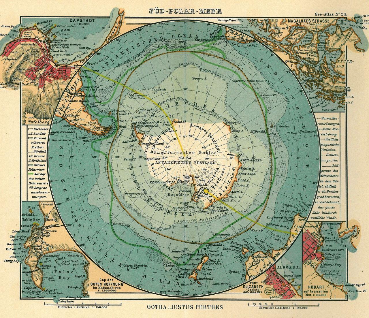 Justus Perthes Antarktischer The South Arctic Ocean 1906 maps