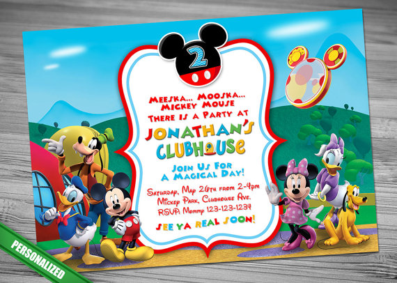 Invitacin de Mickey Mouse ClubHouse Mickey invitacin Cumple 1