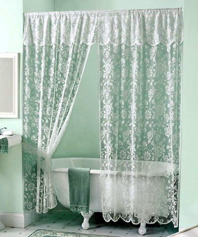 Vintage White Rose Lace Shower Curtain & Valance Set | White lace ...