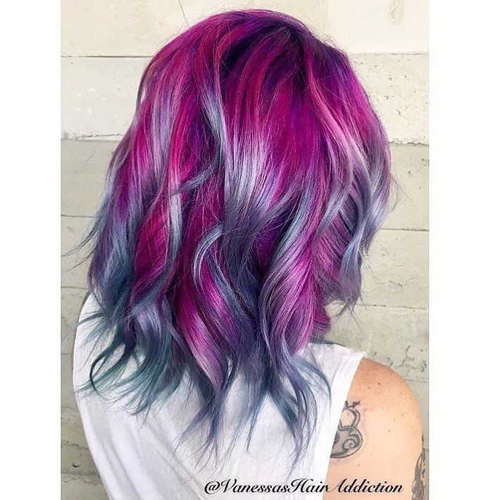 Purple Violet Red Cherry Pink Bright Hair Colour Color Coloured Colored Fire