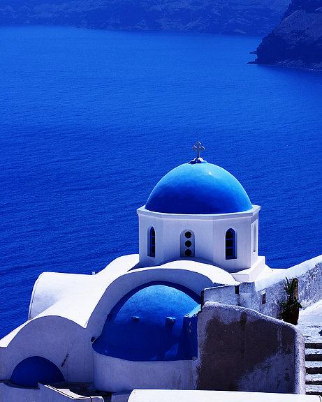 Greek blue vertical Poster by Paul Cowan