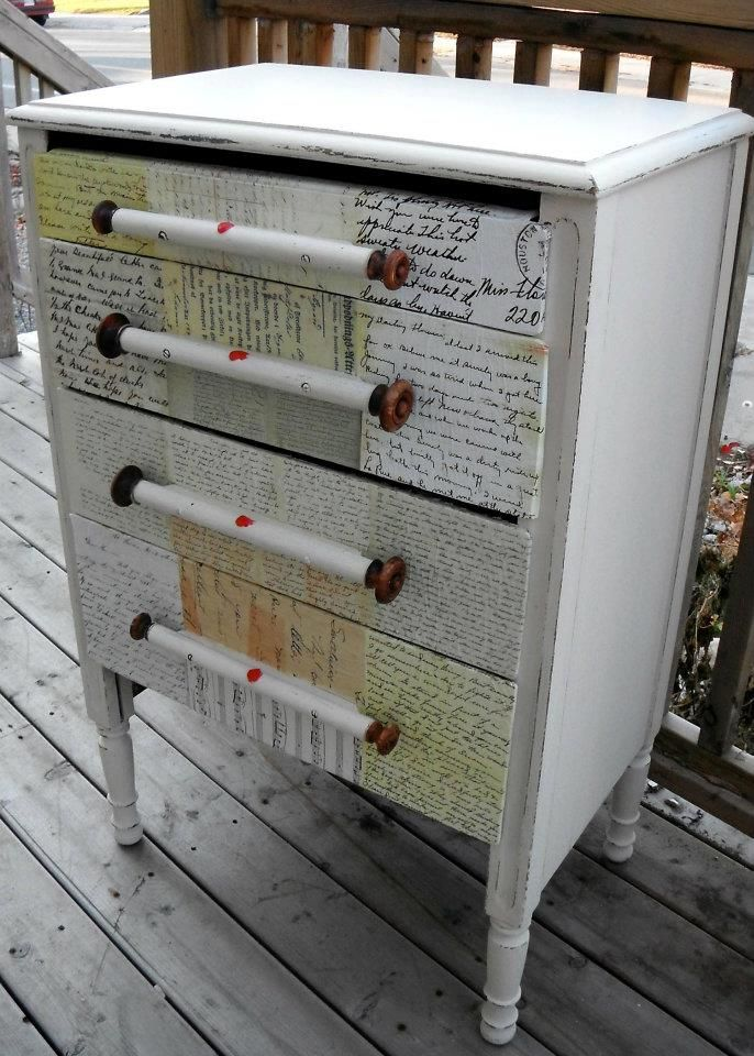 Love letter dresser with scroll pulls decoupage for Furniture 5 letters