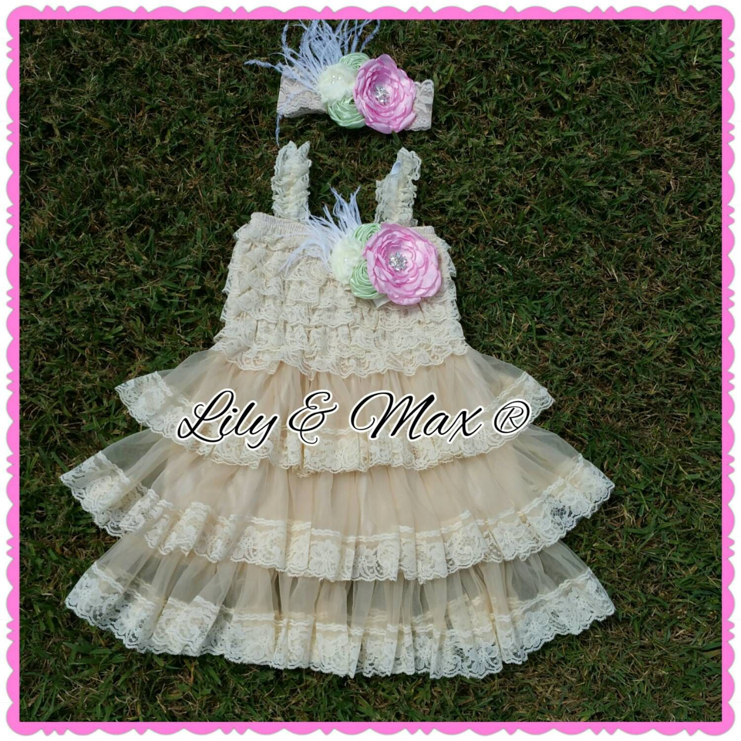 Lace Rustic Flower Girl Dress, Pink Mint Ivory Posh Dress
