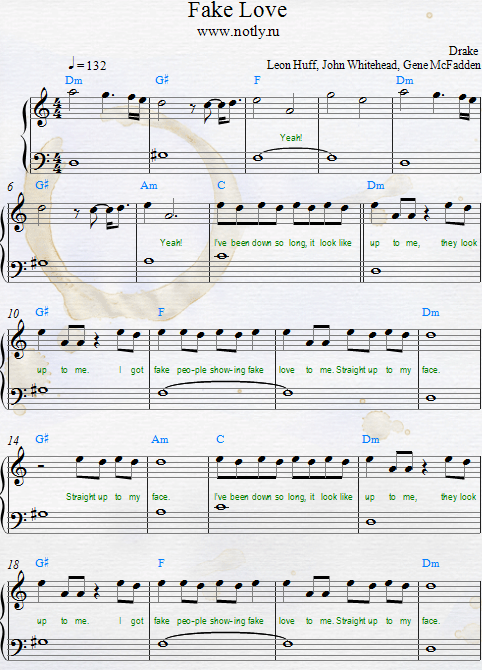 Drake — Fake Love Download PDF Piano Sheet Music