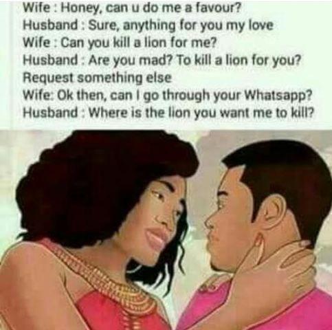 Lion Or Whatsapp Which Will You Men Choose English Jokes Funny English Jokes Husband Love