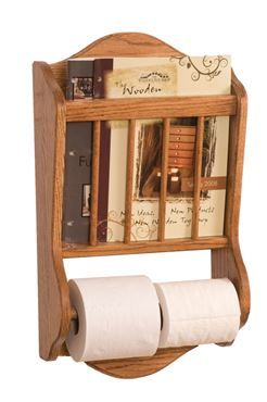 Picture Of Solid Wood Magazine Rack And Toilet Paper Roll Holder