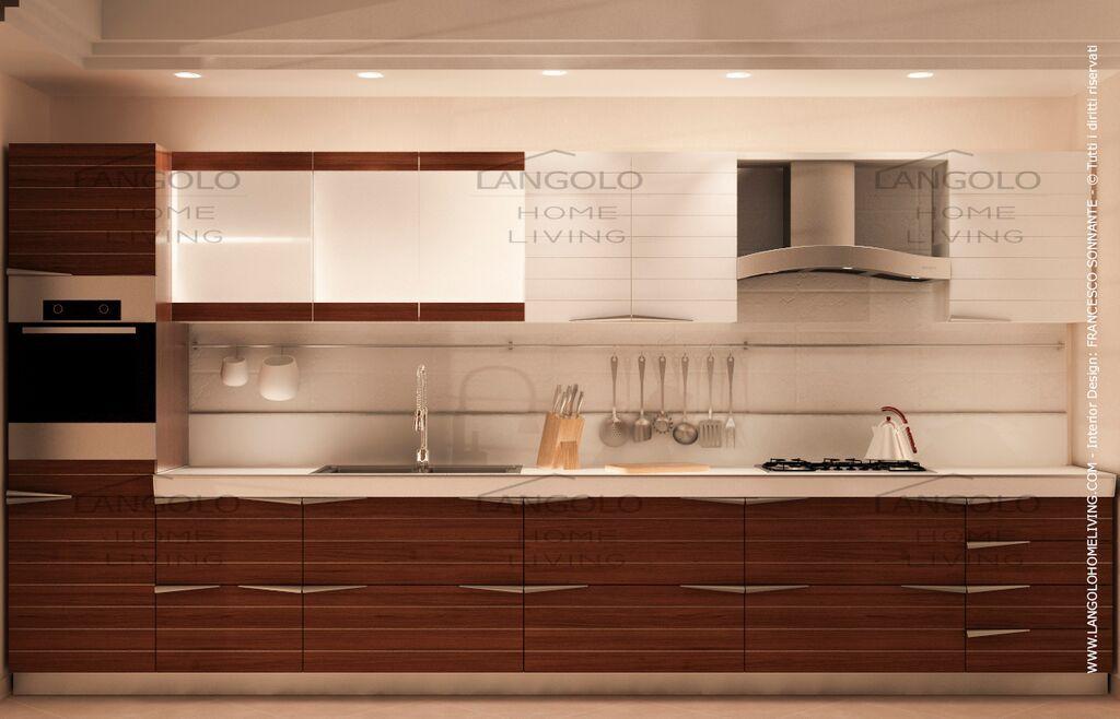 Cucina TIME_LANGOLO HOME LIVING, in finitura Teak + laccato bianco ...