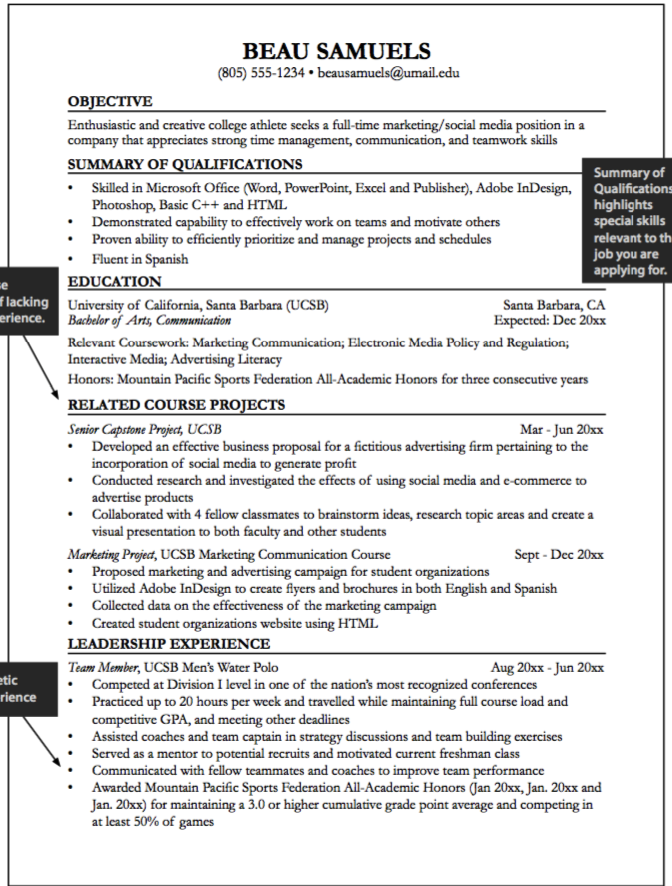 Senior Capstone Resume Sample  HttpExampleresumecvOrgSenior