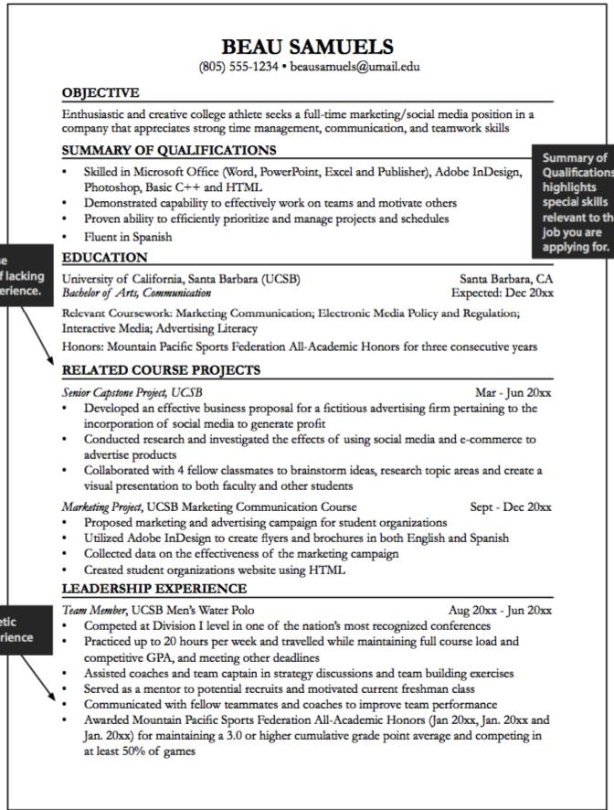 Student Athlete Resume Senior Capstone Resume Sample  Httpexampleresumecvsenior