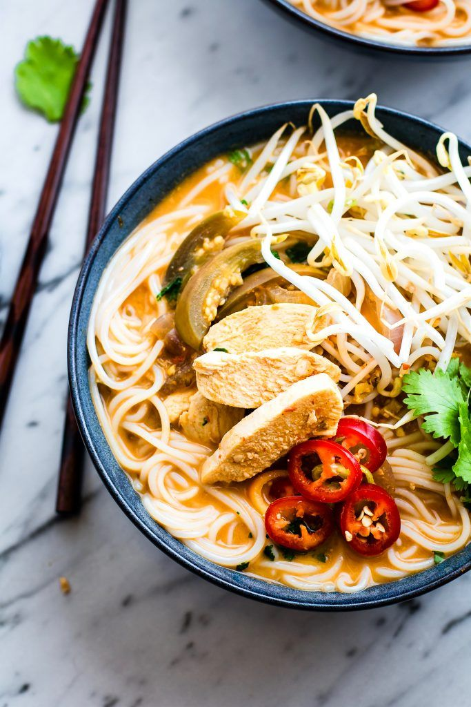 Chicken PHO made with creamy spicy broth! A gluten free chicken PHO recipe that's easy to make. The blended almond chili sauce makes the broth extra spicy.