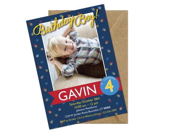 Boy Birthday Invitation Blue Printable Invite Custom 5 Year Old