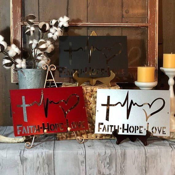 Faith, Hope and Love Metal Wall Art / Wedding Gift / Wall Decor ...