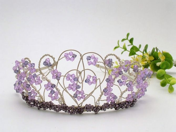 A Stunning Handmade Silver Wedding Tiara Using Lilac And Purple Coloured 4mm Swarovski Crystals Overlapping Two