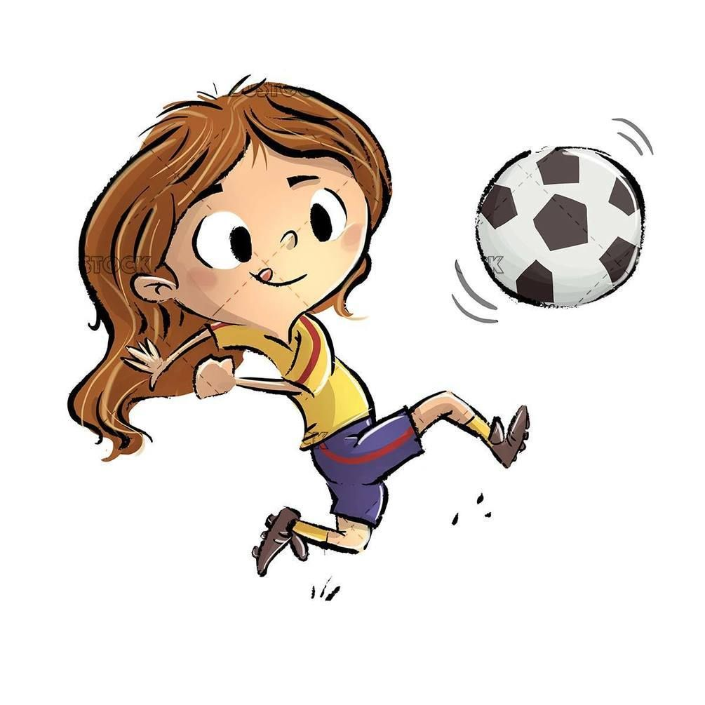 Little Girl Playing Soccer Ball In 2020 Football Illustration Girl Playing Soccer Football Player Drawing