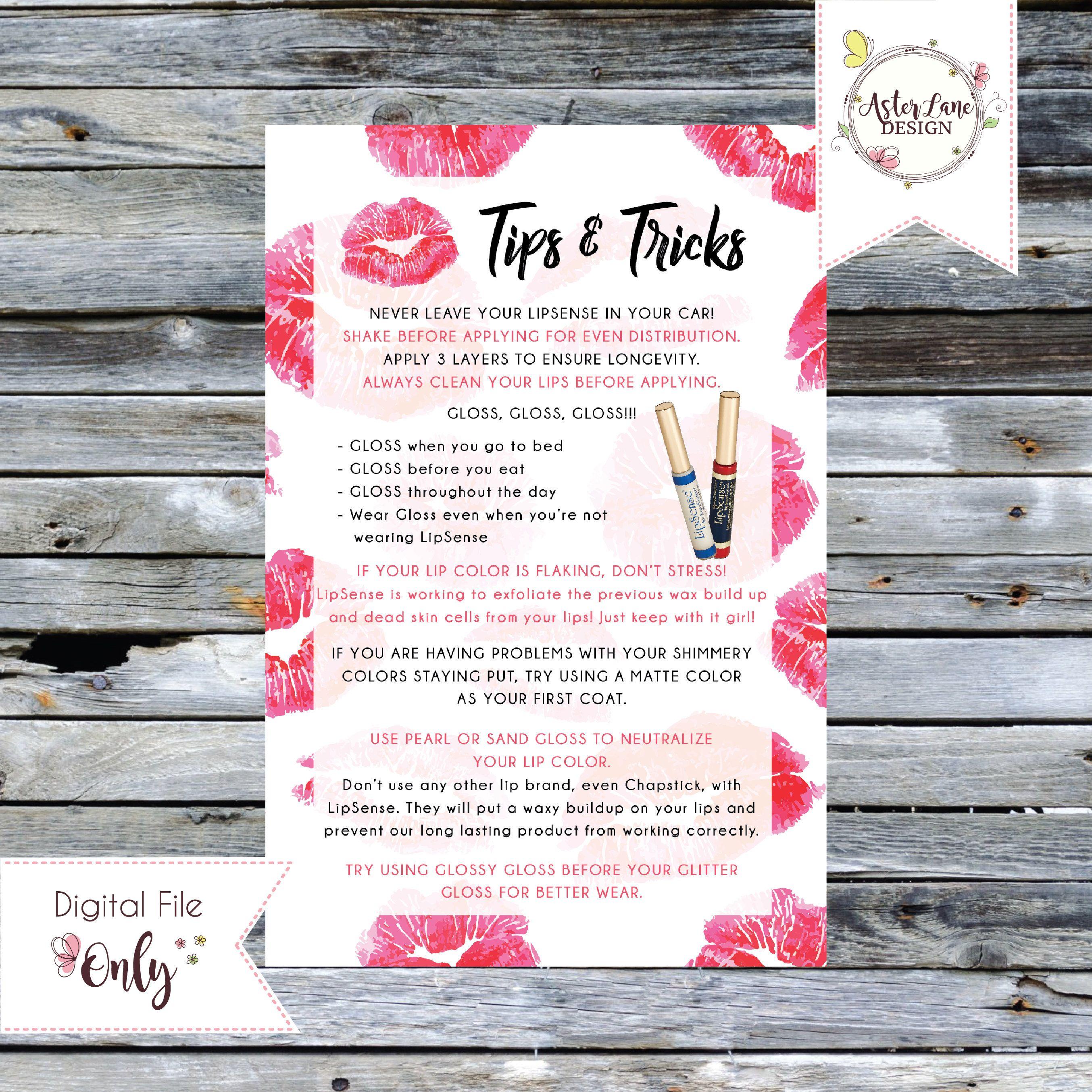LipSense Tips and Tricks Printable 4x6