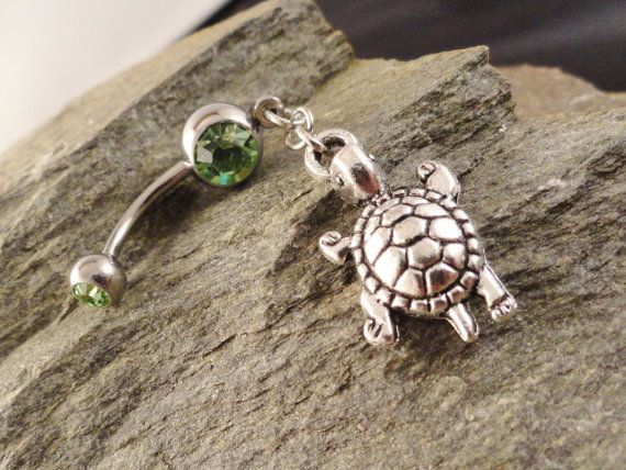 Turtle Belly Button Ring Peridot Green Navel by MidnightsMojo, $13.00