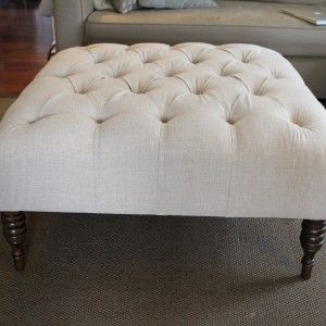 Furniture: Round Tufted Upholstered Ottoman | Tabure | Pinterest ...