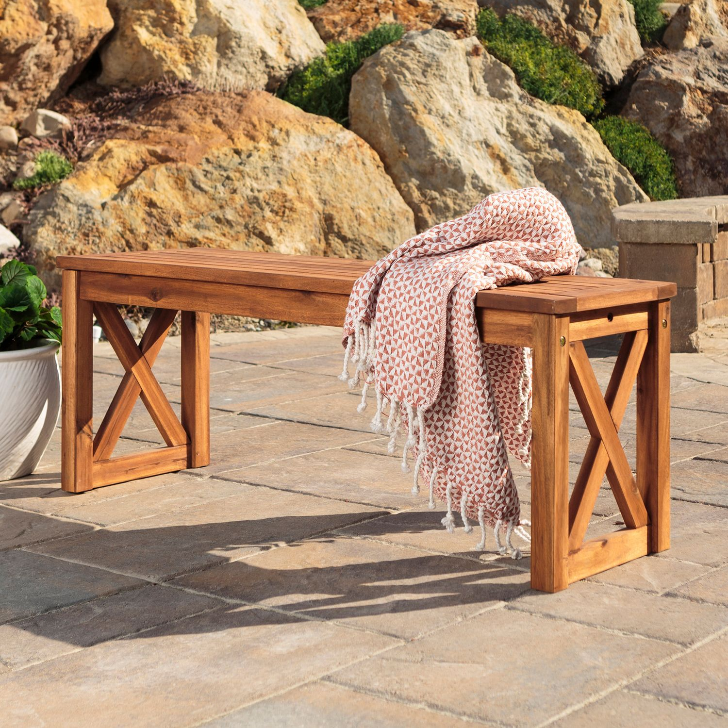 brown acacia wood x frame bench building a home is more than rh pinterest ca