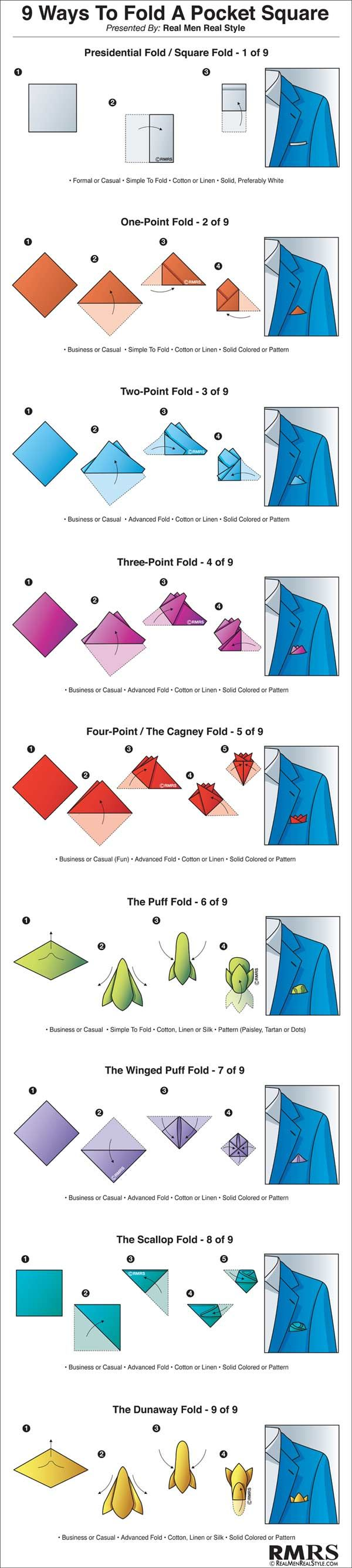 9 Ways to Fold a Pocket Square Infographic