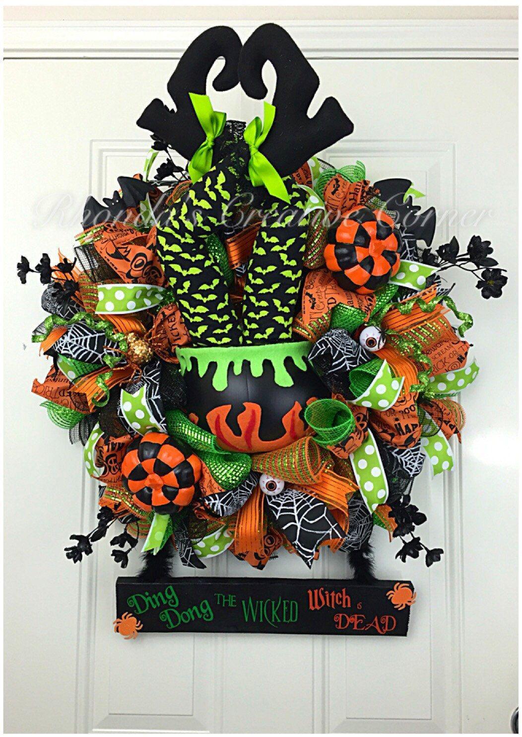 Wicked Witch Deco Mesh Wreath, Halloween Deco Mesh Wreath, Halloween - pinterest halloween door decor