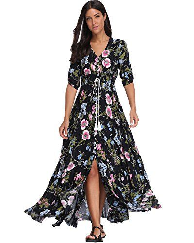 e27f77d26253c New BestWendding Summer Floral Print Maxi Dress Women Button Up Split Long  Flowy Bohemian Beach Party Dresses Women's Fashion Clothing online.