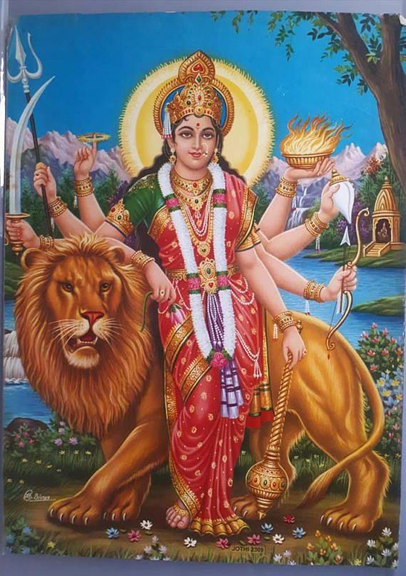 Hindu Goddess Durga Devi Vintage Print Durga Maa Durga