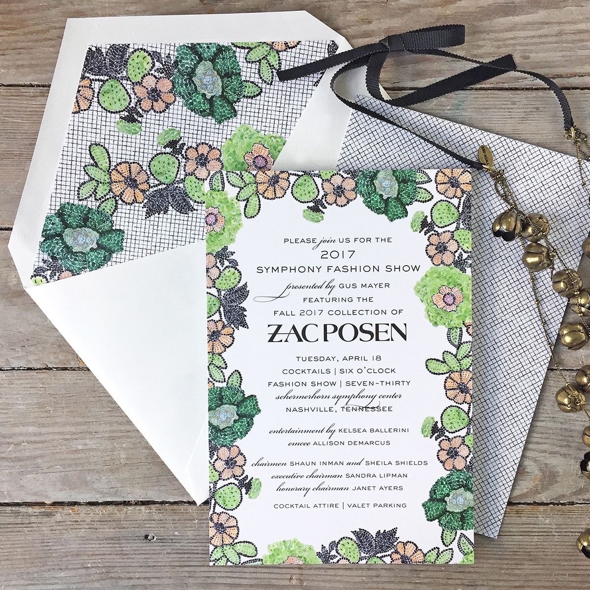 custom wedding invitations nashville%0A Zac Posen Fashion Show invitation   Nashville Symphony   custom watercolor  floral design   Tenn hens
