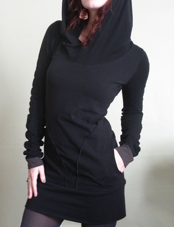 hooded tunic dress with pockets Black/Cement cuffs