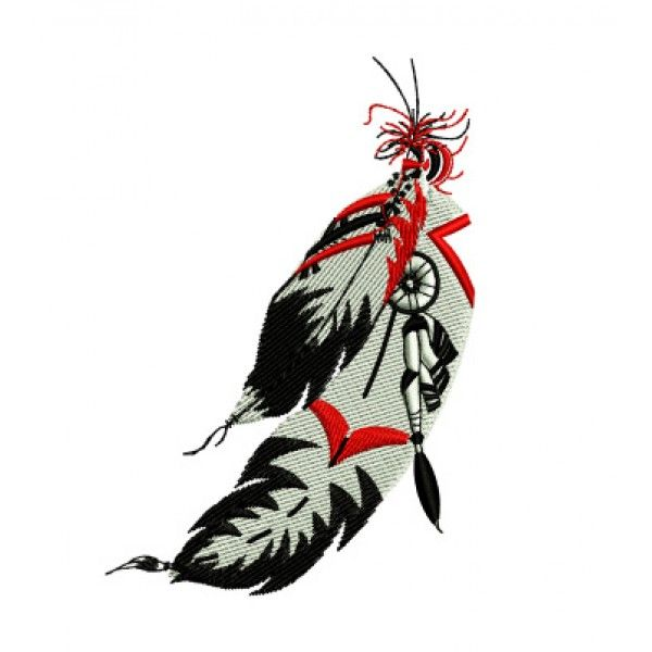 Native American Indian Feathers Western Embroidery Design Clip Art