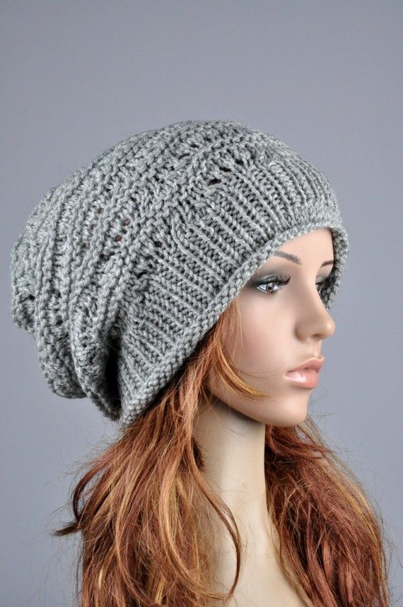 e87e10540e9 Hand knit hat woman winter hat Grey Chunky slouchy Hat - ready to ship.  Super chunky bag hat! This Grey wool hat features on an interesting shape  and ...