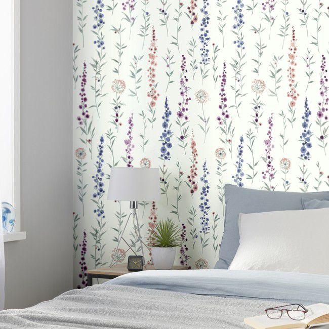 Tapeta Flizelinowa Goodhome Bifora Fiolkowy Tapety Dekoracyjne Goodhome Floral Wallpaper Purple Floral