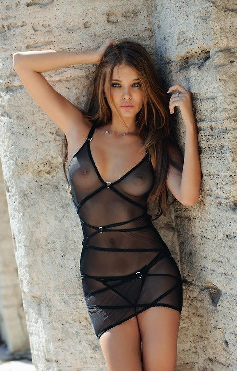 through dress see Brunette lingerie model