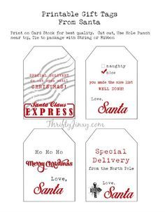 printable santa gift tags and other free santa printables rh pinterest com
