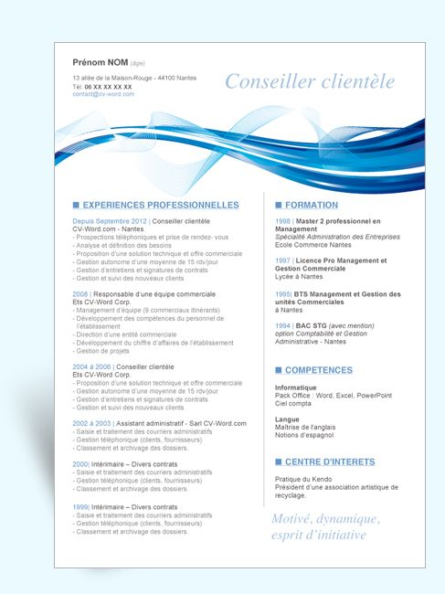 modele cv word assistante commerciale