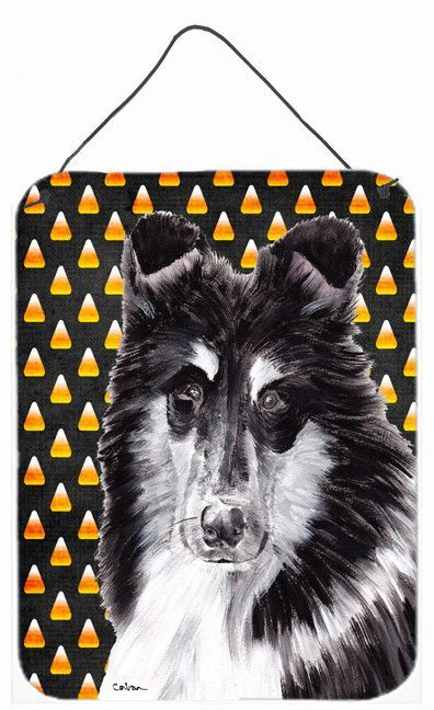 Black and White Collie Candy Corn Halloween Wall or Door Hanging Prints SC9654DS1216