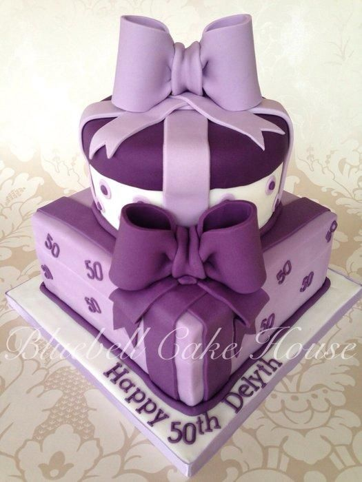 Luxurious purple parcel two tier birthday cake Fancy Cakes