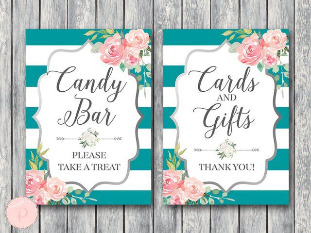 download teal and silver bridal shower table signs in 2019 rh pinterest com