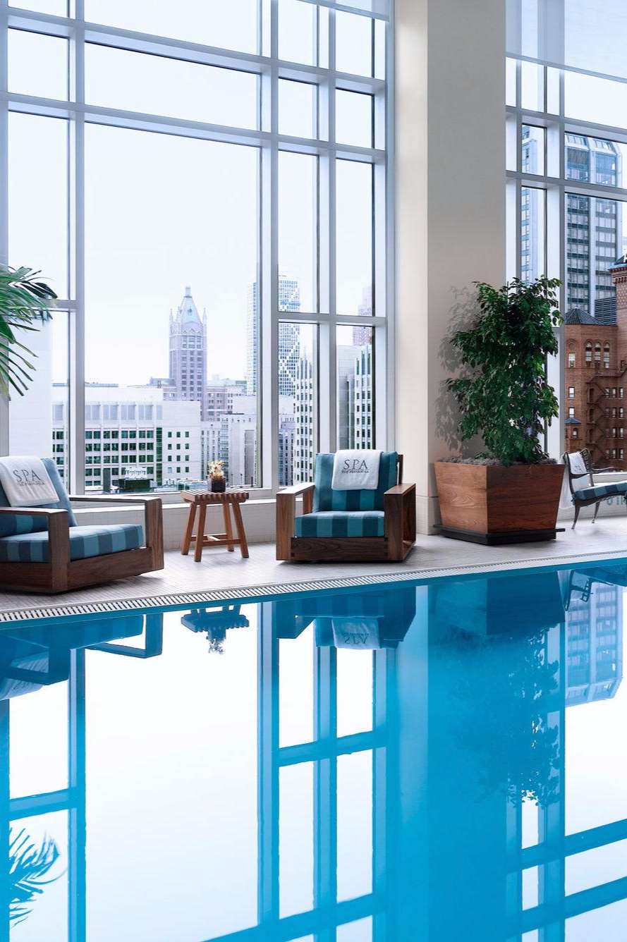 The Peninsula\'s indoor pool — half the length of an Olympic pool ...