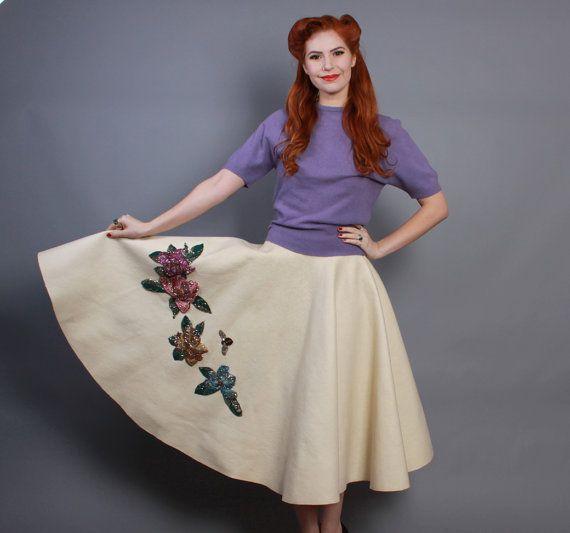 Ivory felt sequined 50s circle skirt