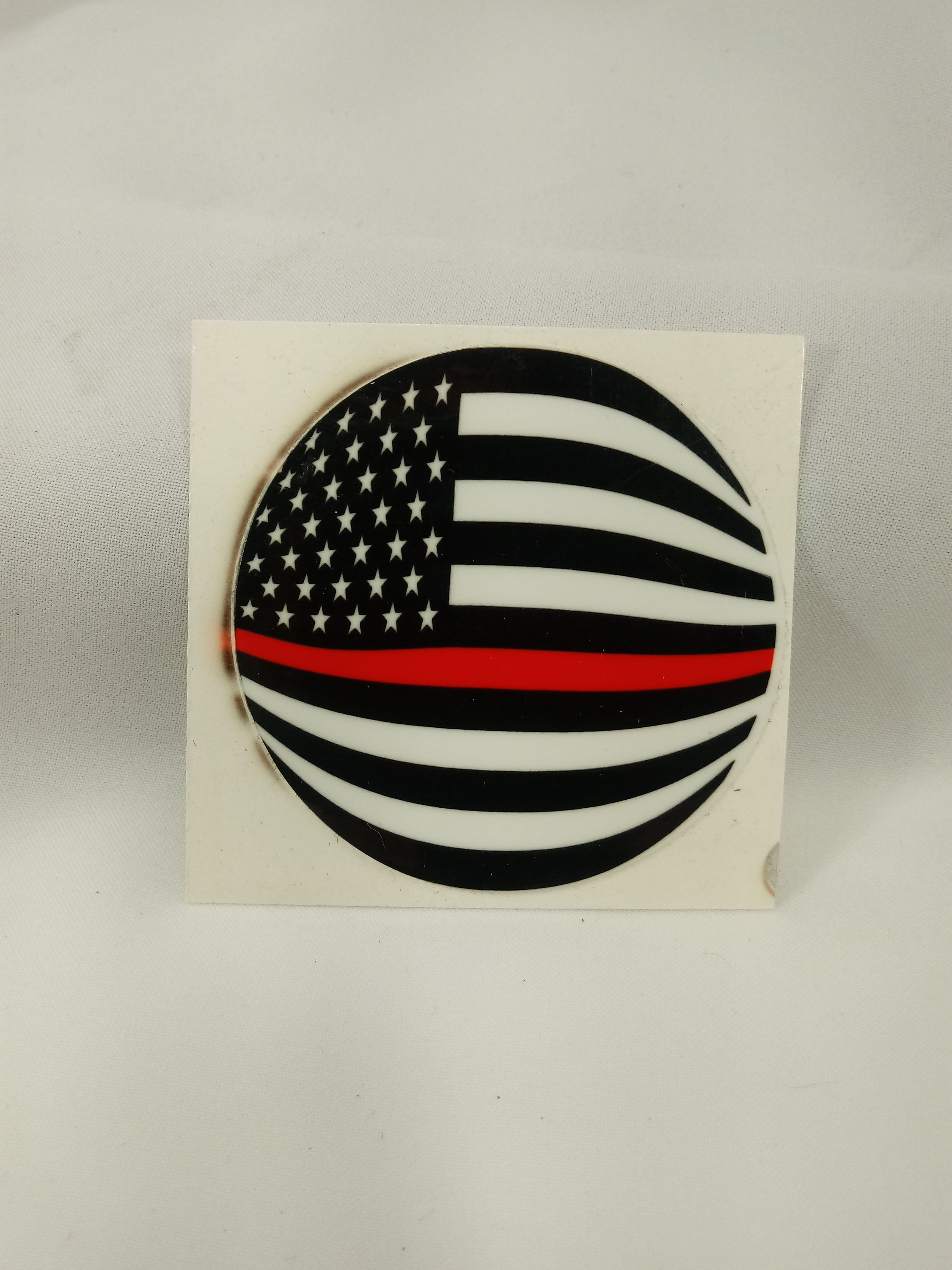 American flag sticker red stripefirefighter round shape made in usa by xannincdesign on etsy