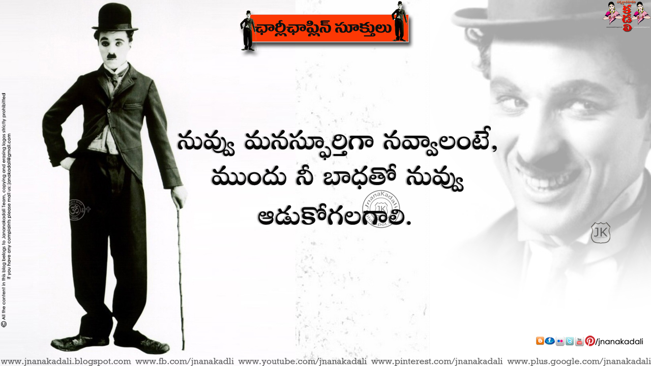 Pleasant Telugu Daily Good Thoughts Messages Language By Charlie Chaplin Personalised Birthday Cards Bromeletsinfo
