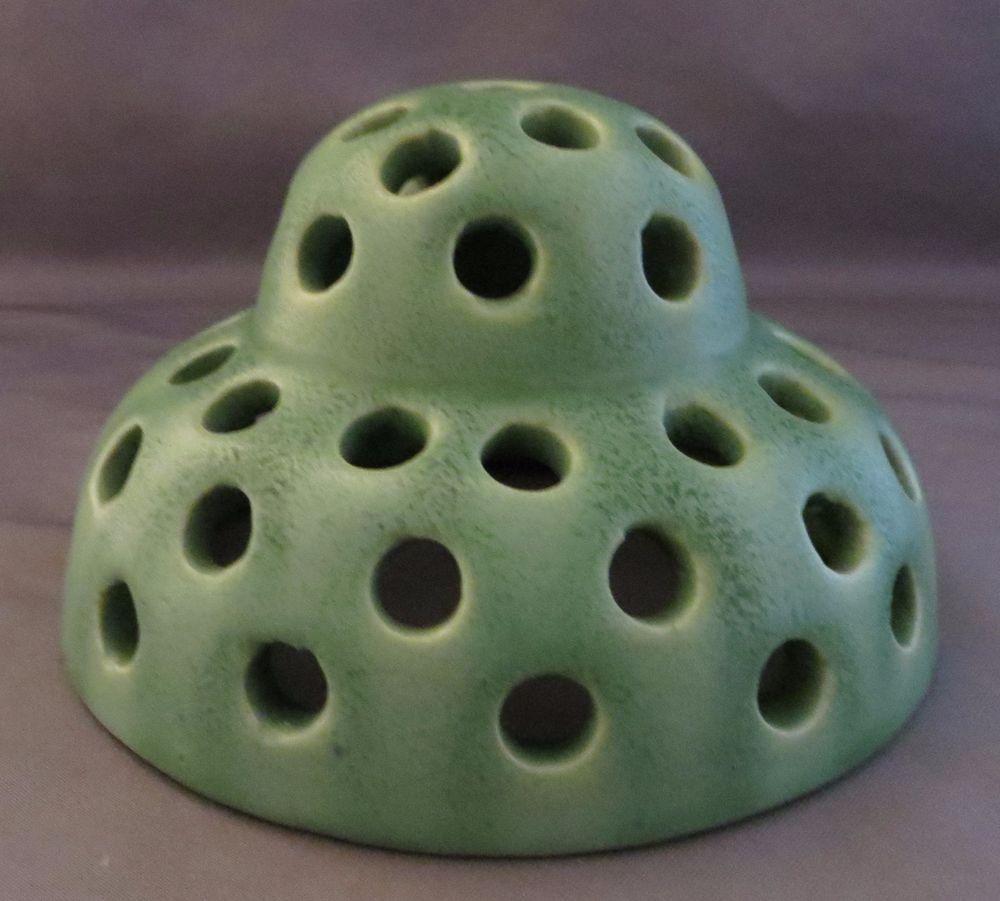 Antique Flower Frog Matte Green Pottery Mission Arts & Crafts ~ 2 Tier