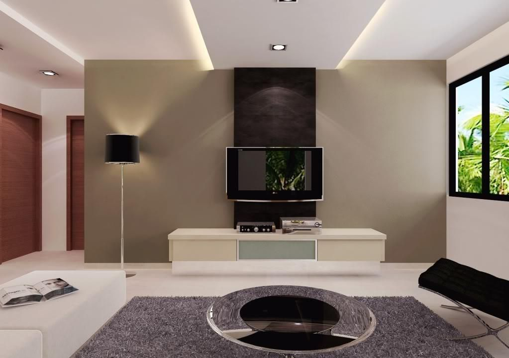 Living Room Designs,Catchy Living Room Interior Design With Cool TV Wall  Unit, Low