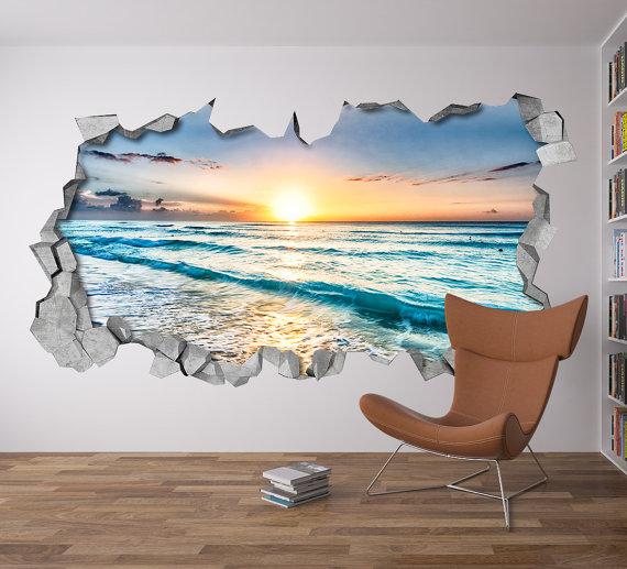Sunset Broken Wall Decal 3d Wallpaper 3d Wall Decals 3d Printed 3d Wall Art 3d Art Wall Sticker 3d Wall Decals 3d Wall Art Beach Themed Wall Art