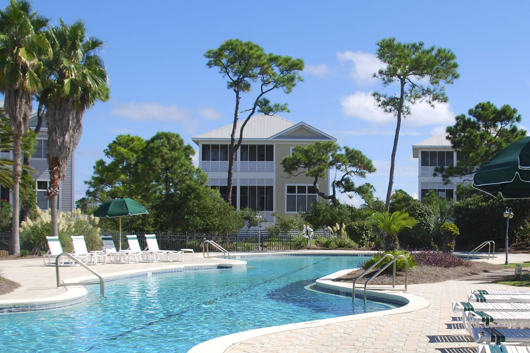 Isla Callada Beach House On St George Island Florida Large Pool With 50 Meter Lap Lane Is Surrounded By Lush Tropical Vegetation