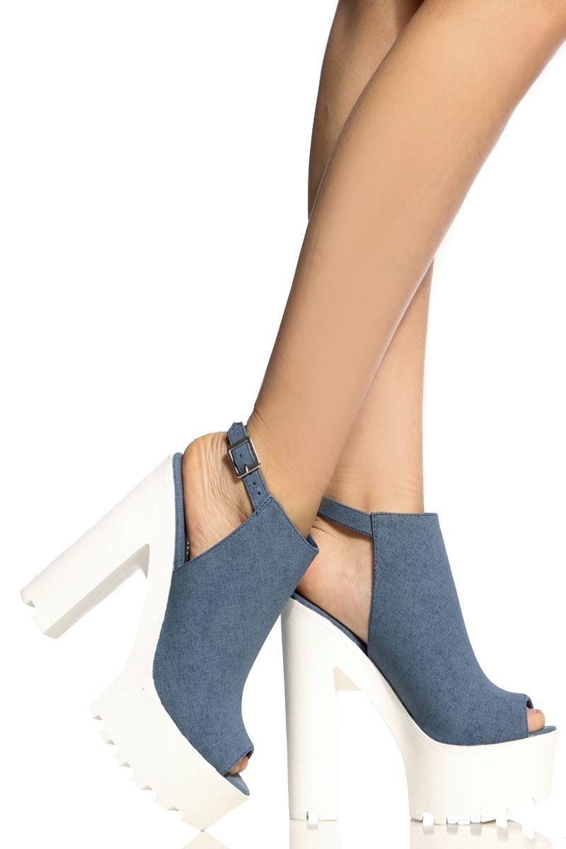 d7da002e2e6 Denim Faux Nubuck Peep Toe Lug Sole Heels   Cicihot Heel Shoes online store  sales Stiletto Heel Shoes