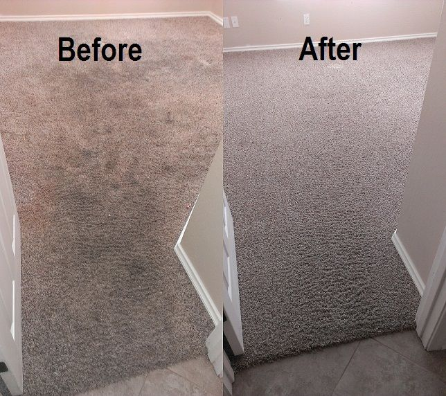 Before Carpet Cleaning Badly Stained And Soiled After