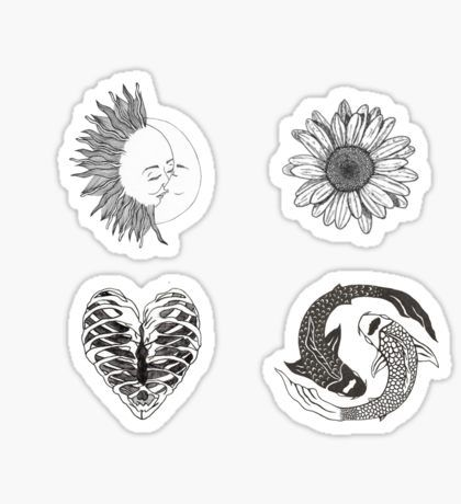 Daisy Stickers DRAWING INSPA Black, white stickers, Stickers