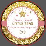 "These pink and gold plates say ""Twinkle Twinkle little star do you know how loved you are (name)"" and are perfect for baby showers or birthday parties. There is a gold sparkly background on these plates and pink and gold stars at the top."