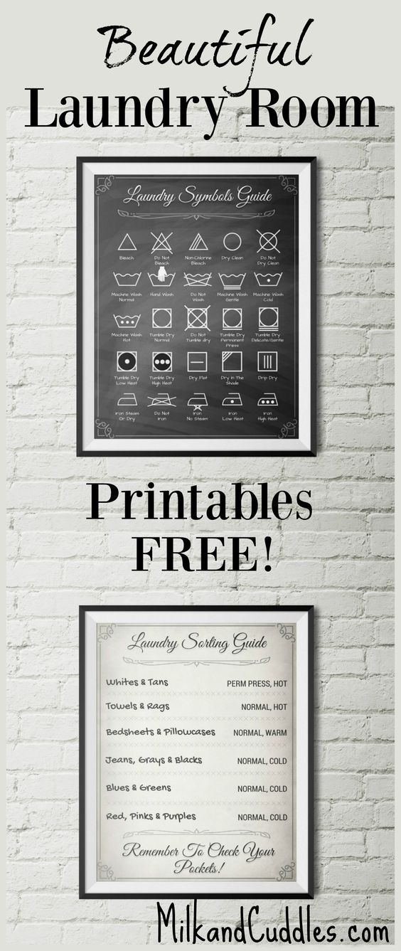GENIUS! And FREE! Pinning for my Laundry room makeover. Free Decor! Laundry room just not functioning the way you want? Looking rather lackluster? That's why I LOVE these FREE printables for laundry room! Not only do they look elegant on the wall, but they serve an actual purpose by helping you translate the common laundry symbols found on clothing. -   21 DIY Clothes For Kids laundry rooms